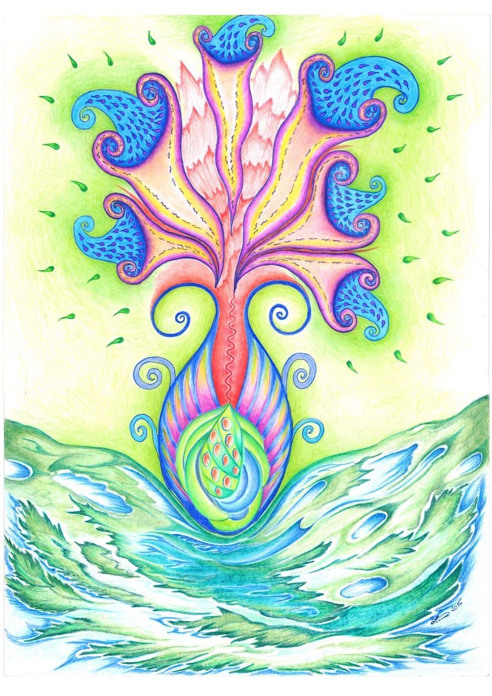 Květ nového života od matky Země
