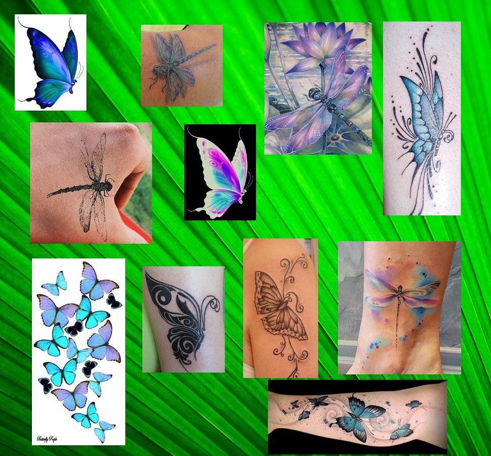 tetování motýl vážka